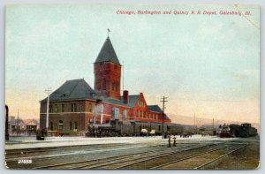Galesburg Illinois~Chicago Burlington & Quincy Railroad Depot~Clock Tower~c1910