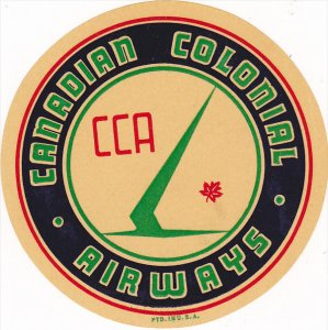 Canadian Colonial Airways, CCA ,  Label , 30-50s