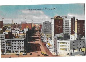 Winnipeg Montreal Portage and Main Streets 1940s Mailed 1952