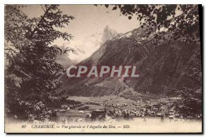 Old Postcard General view Chamonix and Aiguille du Dru