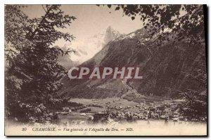 Old Postcard General view Chamonix and Aiguille du Dru