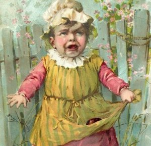 1891 Easter Lion Coffee Woolson Spice Co. Crying Baby Broken Eggs Cat *D