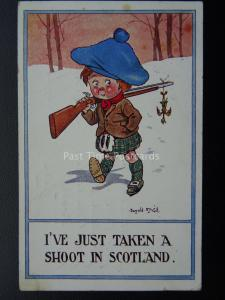Scotch Kiddies I'VE JUST TAKEN A SHOOT IN SCOTLAND c1919 Postcard Donald McGill