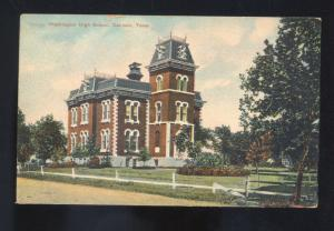 DENISON TEXAS WASHINGTON HIGH SCHOOL VINTAGE POSTCARD MARSHALL MISSOURI