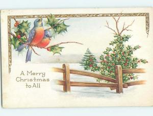 Pre-Linen christmas BEAUTIFUL BIRDS SIT ON THE HOLLY BESIDE FENCE hr2745