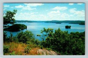 Huntsville Ontario- Canada, Fairy Lake From Lookout Mountain, Chrome Postcard