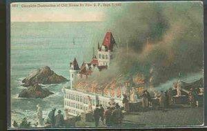 pc9231 postcard San Francisco Cliff House Destruction postally used 1911