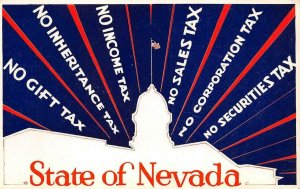 STATE OF NEVADA No Income Tax No Sales Tax c1940s Vintage Postcard