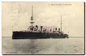 Old Postcard Boat Cruiser Marseillaise armor