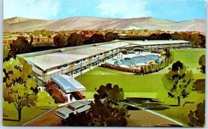 1950s Las Vegas NV Postcard BLAIR HOUSE APARTMENTS Desert Inn Road Artist's View