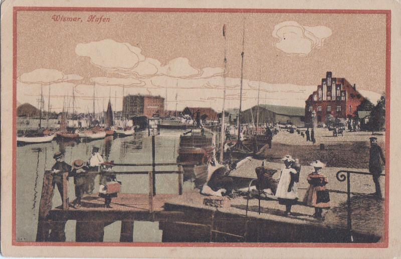 AK Germany Wismar, Hafen (animated harbour)1920s postcard