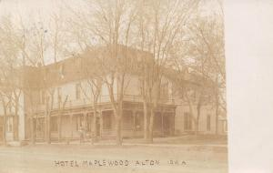 Alton Iowa~Hotel Maplewood on Corner~Wrap Around Victorian Porch~1908 RPPC