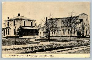 Janesville Minnesota~Catholic Church & Parsonage~1913 B&W Postcard
