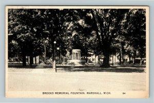 Marshall MI- Michigan, Brooks Memorial Fountain, Vintage Chrome Postcard
