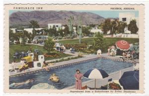 Camelback Inn Swimming Pool Phoenix Arizona linen postcard