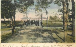 Benson Park 1908 SHAWNEE OKLAHOMA Robertson hand colored postcard 3132