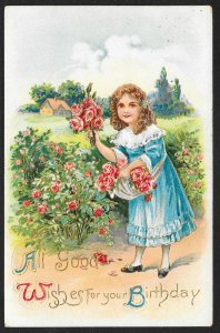 All Good Wishes For Your Birthday Pretty Girl & Flowers Used c1925