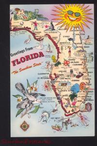 STATE OF FLORIDA MAP POSTCARD SAILBOAT FLA THE SUNSHINE