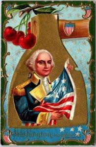 Vintage 1911 George Washington's Birthday Embossed Postcard His Patriotism