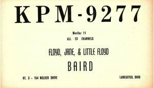 Vintage QSL Postcard KPM 9277 Lancaster, Ohio Floyd Jane Little Floyd Baird  -T-