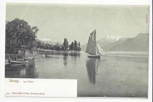 Switzerland Vevey La Tour de Peilz Harbour Sailboat Vtg ca 1905 UDB Postcard