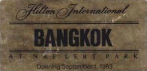 THAILAND BANGKOK HILTON INTERNATIONAL VINTAGE LUGGAGE LABEL