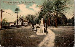 New London Conn. CT - WILLIAMS ST FOUNTAIN - STREET VIEW - VINTAGE - Postcard