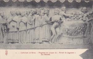 France Reims Cathedrale Fragment du tympan du Portail du Jugement Les Damnes