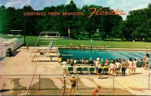 Florida Greetings From Brandon Showing Swim and Tennis Club