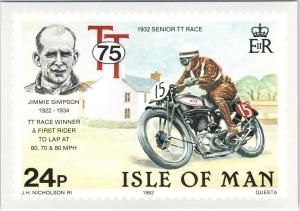 ISLE of MAN, UNITED KINGDOM  1932 MOTORCYCLE RACE PO Stamp Card 1982