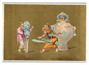 Tchou Nah Fang Hides in Teapot Chinese Victorian Trade Card French Text *VT14