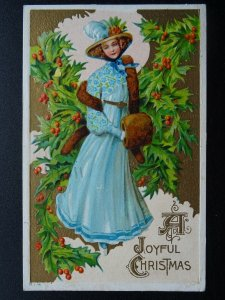 A JOYFUL CHRISTMAS Lady with Fur & Muff c1911 Embossed Canadian Postcard