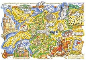 North Wales Map Postcard, Anglesey, Llandudno, Barmouth, Snowdon, Bangor BY8