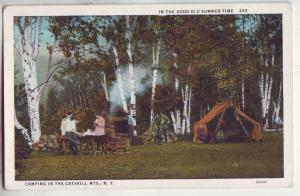 P875 old card the good old summertime camping the catskill mts new york