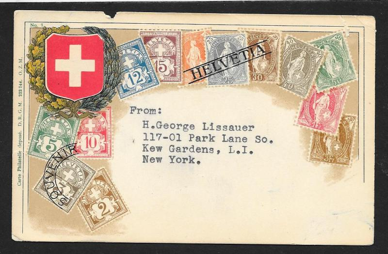 SWITZERLAND Stamps on Postcard Used c1910-1930
