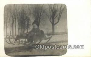 Horse Rocker & Sleigh, Real Photo Ski, Skiing Postcard Post Card Old Vintage ...