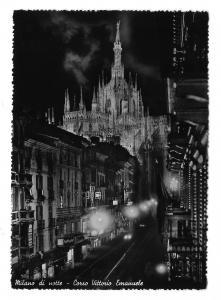Italy Milan di Notte Night Corso Vittorio Emanuele Glossy 4X6 Photo Postcard