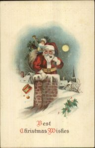 Christmas - Santa Claus in Moonlight Heading Down Chimney c1915 Embossed PC