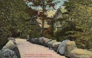 BROOKLYN , New York, 1910; Restaurant & Stone Bridge, Prospect Park