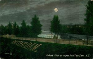 Amsterdam New York~Mohawk River by the Depot by Moonlight~City in Grass~1910