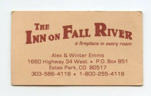 The Inn On Fall River Estes Park CO Colorado Vintage Paper Business Card