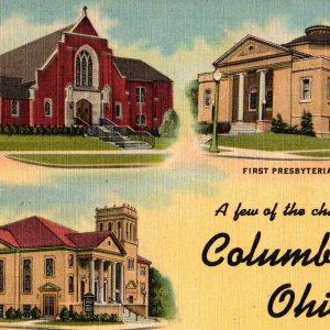 Vintage 1930s Jerusalem Lutheran Presbyterian Church Columbiana Postcard Ohio