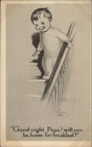 Little Boy on Stairs Good Night Papa - Charles Twelvetrees c1915 Postcard