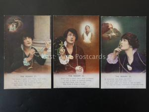 WW1 THE ROSARY Bamforth Song Cards set of 3 No 4878 1/2/3