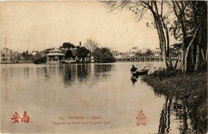 CPA AK VIETNAM Tonkin - HANOI Pagode et Pont sur le petit Lac (256829)