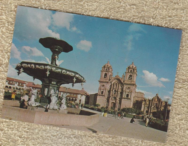 Postcard Plaze de Armas La Compania Historic Church Building
