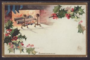 Christmas,Fireplace,Holly Postcard