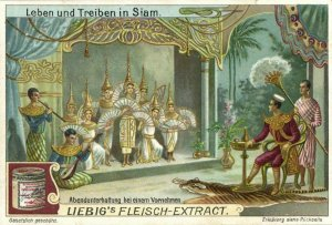 siam thailand, Evening Entertainment for Noble Man (1899) Liebig Trade Card