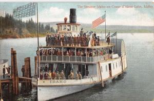 Coeur D Alene Lake Idaho Steamer Ship Waterfront Antique Postcard K98479