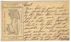 Advertising Pioneer Boston MA Mattress Bedding Manufacturers Early Postal Card